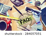faq frequently asked questions... | Shutterstock . vector #284057051