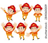 firefighter characters in... | Shutterstock .eps vector #284060009