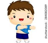 kid getting dressed | Shutterstock .eps vector #284082089