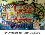 beautiful street art graffiti.... | Shutterstock . vector #284082191