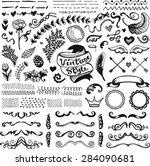 hand drawn set of vintage... | Shutterstock .eps vector #284090681