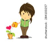 the girl was watering the tree...   Shutterstock .eps vector #284103257