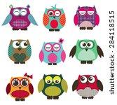 a set of owl   Shutterstock .eps vector #284118515