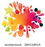 a lot of different fruits and...   Shutterstock .eps vector #284118914