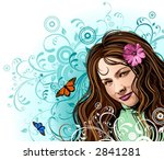 girl and flowers | Shutterstock .eps vector #2841281