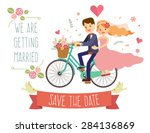 wedding invitation card with... | Shutterstock .eps vector #284136869