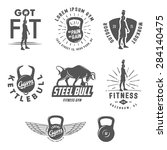 set of vintage fitness crossfit ... | Shutterstock .eps vector #284140475