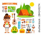 Vector set of icons and characters in the tourism theme. Set in a flat style, tent, backpack, sleeping pad, compass, map and tourist girl.