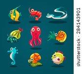 cute sea life creatures cartoon ... | Shutterstock .eps vector #284143901