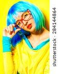 bright glamorous girl in vivid...   Shutterstock . vector #284144864
