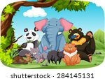 wild animals sitting in the... | Shutterstock .eps vector #284145131