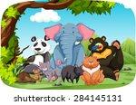 wild animals sitting in the... | Shutterstock .eps vector #284145131