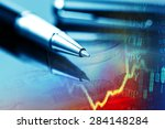 pen and finance data. business... | Shutterstock . vector #284148284