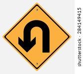 traffic sign . u turn  | Shutterstock .eps vector #284149415
