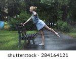 Young Blonde Ballerina Posing...