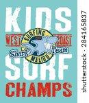 shark surfing team   vector... | Shutterstock .eps vector #284165837