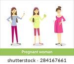 pregnant woman. vector... | Shutterstock .eps vector #284167661