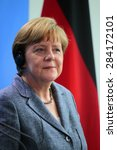 Small photo of BERLIN, GERMANY - JUNE 3, 2015: German Chancellor Angela Merkel at a press conference after a meeting with the Egyptian President in the Federal Chanclery in Berlin.
