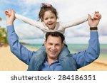 child  father  shoulder. | Shutterstock . vector #284186351