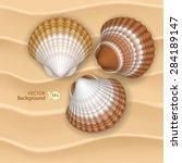 shells on the sand. vector eps... | Shutterstock .eps vector #284189147