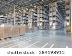 huge distribution warehouse...   Shutterstock . vector #284198915