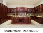 Stock photo modern kitchen interior and furniture 284202017