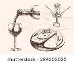vector sketch of wine set with... | Shutterstock .eps vector #284202035