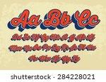 retro cursive typography vector | Shutterstock .eps vector #284228021