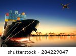 container ship in import export ... | Shutterstock . vector #284229047