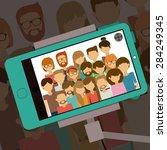 selfie design over shadow... | Shutterstock .eps vector #284249345