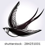 hand drawn flying swallow bird... | Shutterstock .eps vector #284251031