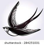 hand drawn flying swallow bird... | Shutterstock .eps vector #284251031
