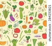 vector vegetables pattern.... | Shutterstock .eps vector #284253821