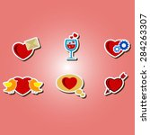 set of color icons with symbols ...   Shutterstock .eps vector #284263307