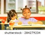 happy school scene. elementary... | Shutterstock . vector #284279234