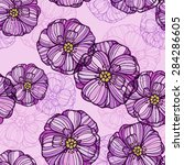 seamless floral pattern with... | Shutterstock .eps vector #284286605