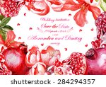 watercolor wedding card with... | Shutterstock .eps vector #284294357