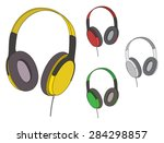 headphones  colorful headphones  | Shutterstock .eps vector #284298857
