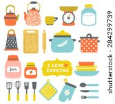 vector set of kitchenware  pans ... | Shutterstock .eps vector #284299739