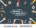 vector mental health concept... | Shutterstock .eps vector #284300021
