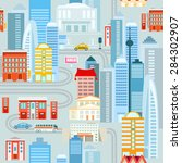 big city seamless pattern with...   Shutterstock .eps vector #284302907