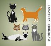 geometric cats | Shutterstock .eps vector #284314097