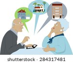 elderly couple sitting with a... | Shutterstock .eps vector #284317481