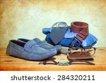 still life with casual man on... | Shutterstock . vector #284320211