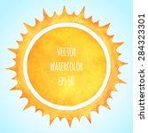 watercolor vector sun with... | Shutterstock .eps vector #284323301