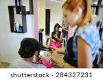 young brunette bride applying... | Shutterstock . vector #284327231