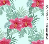 tropical background with red... | Shutterstock .eps vector #284330729