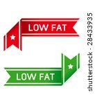 Low fat food corner label or sticker for print materials, product websites, or packaging - stock vector