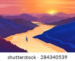 sunset landscape. vector design ...