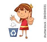 girl recycling paper  vector... | Shutterstock .eps vector #284344331